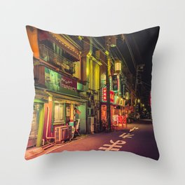 Deserted Japan Street/ Anthony Presley Photo Print Throw Pillow