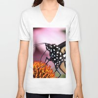 dentist V-neck T-shirts featuring Monarch Macro by IowaShots
