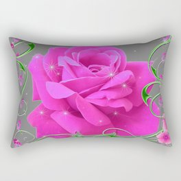 ROMANTIC CERISE PINK ROSE GREY ART RIBBONS Rectangular Pillow