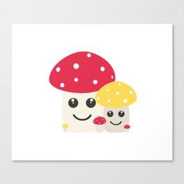 Cute colorful mushrooms Canvas Print