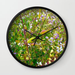 Vibrant Yellow-Green Meadow Wall Clock