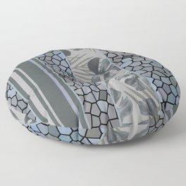 Monstera Mosaic Stripes pattern grey Floor Pillow