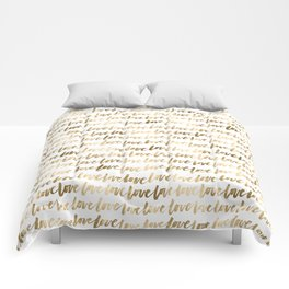 Gold Love Pattern Comforters