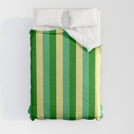 Tan, Sea Green & Green Colored Lines Pattern Comforters