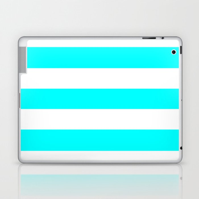 Electric cyan - solid color - white stripes pattern Laptop & iPad Skin