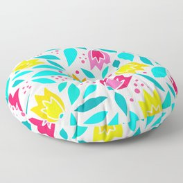 Red, Yellow And Blue Floral Trendy Tulip Pattern Floor Pillow