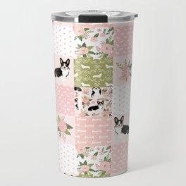 Tricolored Corgi Patchwork - feminine floral, florals corgis, dog lover, dog design, cute dogs Travel Mug