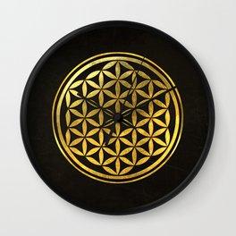 Golden Flower Of Life Wall Clock