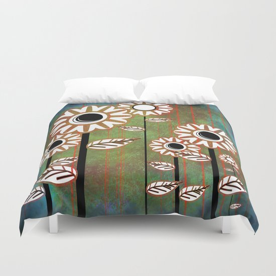 Retro flowers in brown and blue Duvet Cover