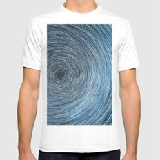 Deep Sky Star Trail MEDIUM White Mens Fitted Tee