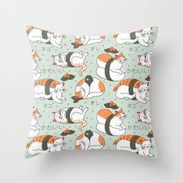 Kawaii Neko Sushi Throw Pillow