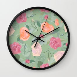 Pastel Pink Roses Pattern Design Wall Clock