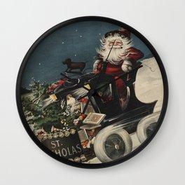 Vintage Santa Claus in a Motorized Sleigh (1920) Wall Clock