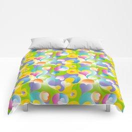 Swirling Hearts in Pastels Comforters