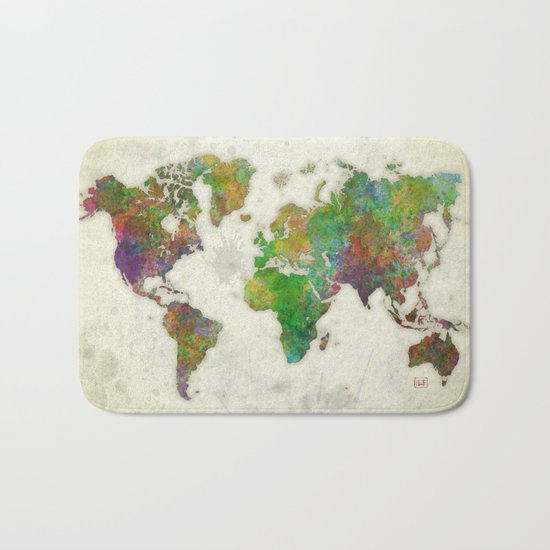 World Map Color Bath Mat