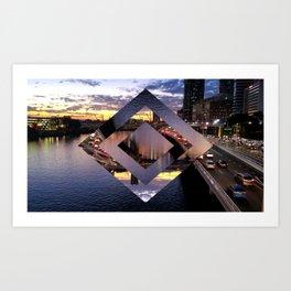 Beautiful Brisbane River - Geometric Design Art Print