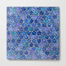 Sparkly Shades of Blue & Silver Glitter Mermaid Scales Metal Print