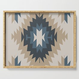 Santa Fe Southwest Native American Indian Tribal Geometric Pattern Serving Tray
