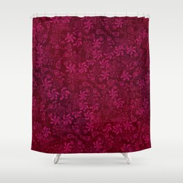 Magenta Lace on Red Texture Shower Curtain