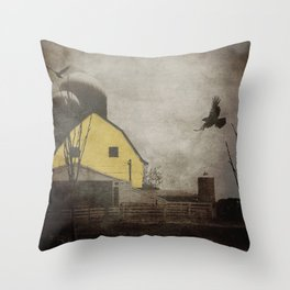 Yellow Barn on Sepia Background With Birds Flying A170 Throw Pillow