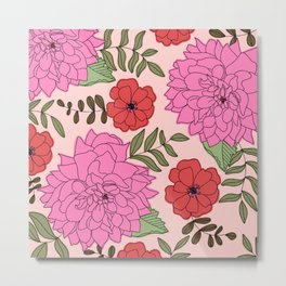 Late Summer Pink Dahlia and Coral Hellebore Flowers Modern Floral Print Metal Print
