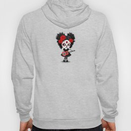 Day of the Dead Girl Playing Norwegian Flag Guitar Hoody