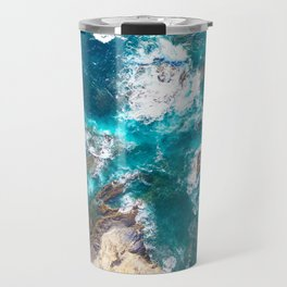 Ocean, deep blue, drone photography, aerial Travel Mug