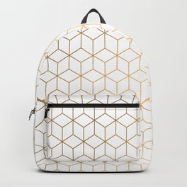 Gold Geometric Pattern on White Background Backpack