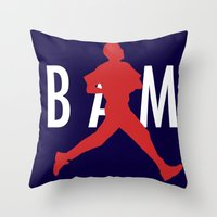 obama Throw Pillows featuring Obama Jumpman by Michael Rosenfeld