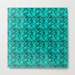 Volumetric design with interlaced circles and light blue rectangles of stripes. Metal Print