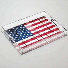 Distressed American Flag On Wood Planks - Horizontal Acrylic Tray