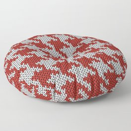 Classic houndstooth knitted Red & White Floor Pillow