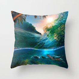 Palm Tree - Waves - Turtles - Beach - Ocean Throw Pillow