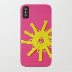 Gun Flower on Pink iPhone X Slim Case