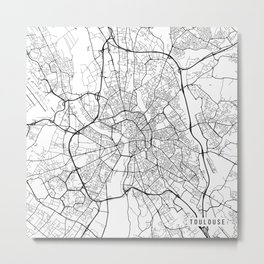 Toulouse Map, France - Black and White Metal Print