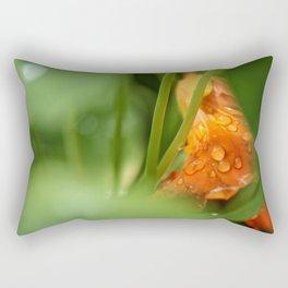 Raindrops on an Orange Flower Rectangular Pillow
