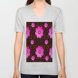 FUCHSIA PINK FLOWERS &  DARK ART Unisex V-Neck