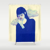 clouds Shower Curtains featuring Clouds by Natalie Foss