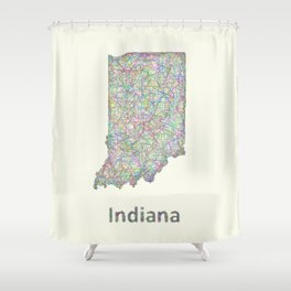 Indiana map Shower Curtain