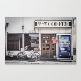 Bike and Coffee Shop in Kyoto Canvas Print