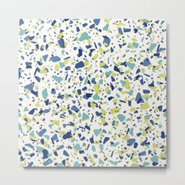 Terrazo in Blue, green and citron Metal Print