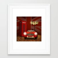 british Framed Art Prints featuring British RED by Monika Juengling