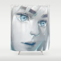 shingeki no kyojin Shower Curtains featuring The shores of freedom by pingu