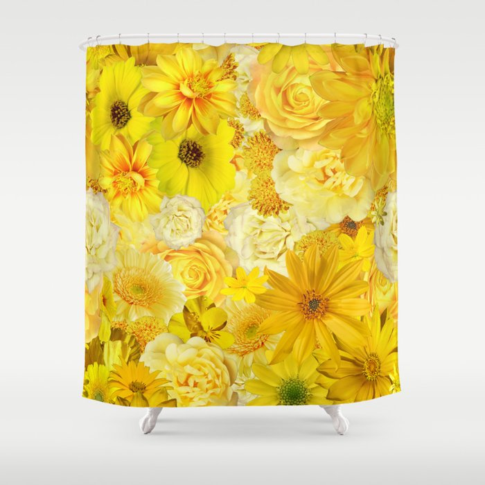 Yellow Rose Bouquet With Gerbera Daisy Flowers Shower Curtain By Saburkitty