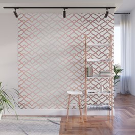 Rose Gold On White Foil Paint Line Dots Stripes Design XIX Wall Mural