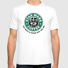 Star Wars Coffee White Mens Fitted Tee SMALL