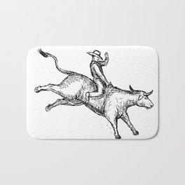 Bull Riding Rodeo Cowboy Drawing Bath Mat