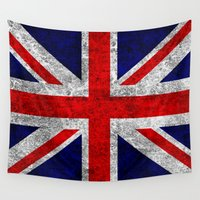 union jack Wall Tapestries featuring Union Jack Grunge Flag by Alice Gosling