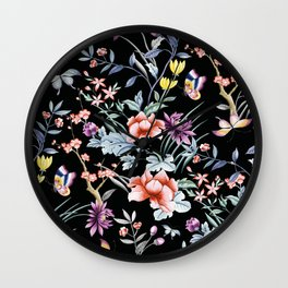 French Butterfly Black Wall Clock