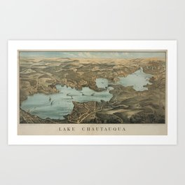 Vintage Pictorial Map of Lake Chautauqua NY (1885) Art Print